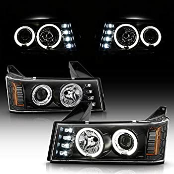 ACANII - For 2004-2012 Chevy Colorado GMC Canyon LED DRL Dual Halo Black Housing Projector Headlights Headlamps Assembly
