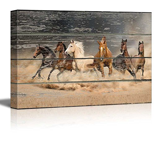 wall26 - Canvas Wall Art - Galloping Horses on Vintage Wood Textured Background - Rustic Country Style Modern Giclee Print Gallery Wrap Home Art Ready to Hang - 12' x 18'