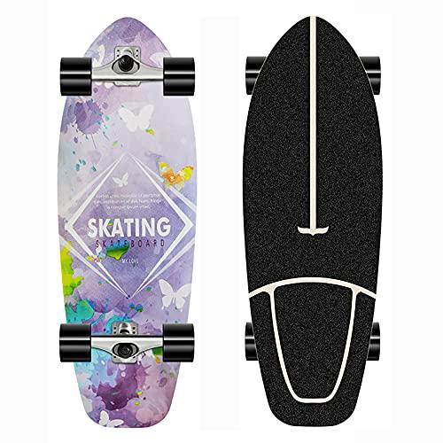 Carving Mini Skateboard Niños Completo Monopatin para Principiantes con Rodamientos ABEC-11, CX4 Truck 7 Capas de Madera de Arce Pumpping Skateboards Pro Longboard para Adultos Adolescentes Niñas