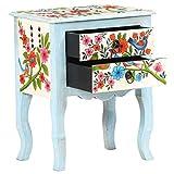 Wakects Mesita de noche, cómoda con cajones pintada a mano, decorativa armario, mesa de sofá de madera maciza de...