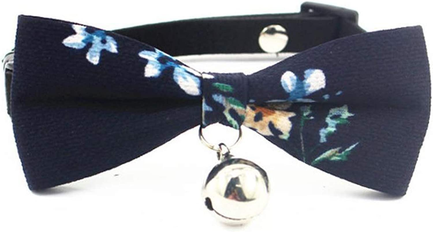 Dixinla Pet Collar Fur Butterfly Knot Bell Collar Dog with cat Rope