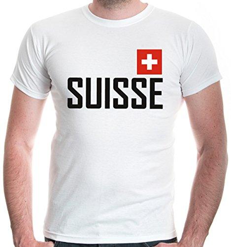 buXsbaum® Herren T-Shirt Suisse | Schweiz Switzerland Svizzera Swiss Europa | Flagge Ländershirt Fanshirt | M, Weiß