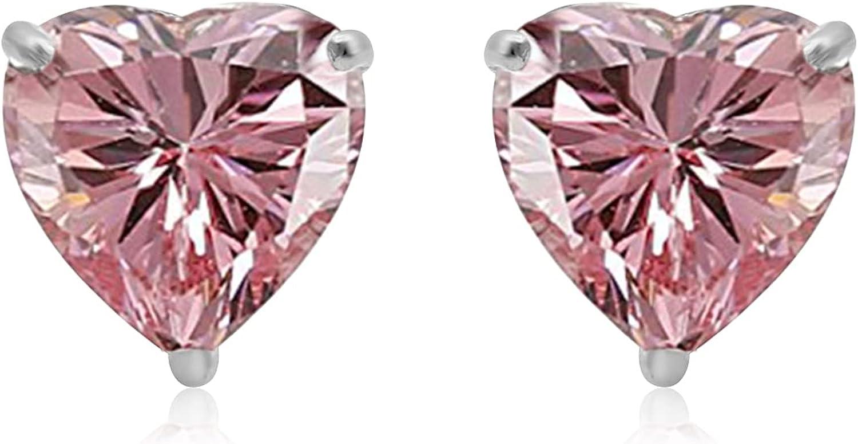 Jewelili 10K White Gold 6 MM Heart Cubic Zirconia Stud Earrings