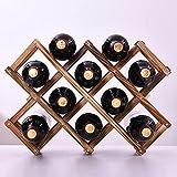 rubix cube botellero Madera, Estante para vinos Plegable de Madera Maciza Estante para vinos Creativo Resistente y práctico 10 Botellas