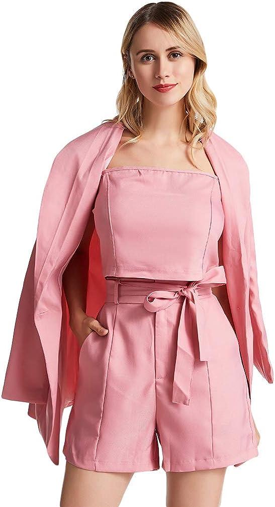 SOURBAN Women Elegant Office Suit Set 3pcs Vest Tied Shorts Blazer Work Outfits