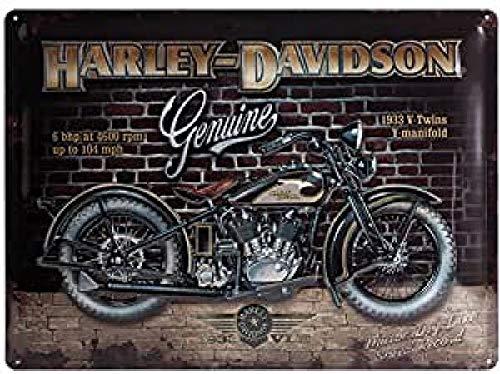 Nostalgic-Art Harley Davidson Brick Wall Placa Decorativa, Metal, Ocres, 30 x 40 cm