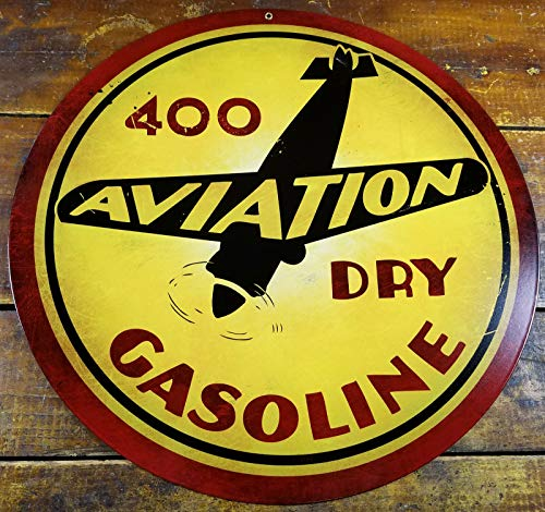 Aviation 400 Dry Gasoline Plane Gas Station Round Metal Advertising Sign Metal Sign Plaque 12x12 Inch