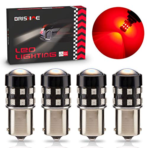 BRISHINE 4-Pack Super Bright 1156 1073 1141 7506 BA15S LED Bulbs Brilliant Red 9-30V Non-Polarity 24-SMD LED Chipsets with Projector for Brake Tail Lights, Turn Signal Lights