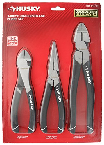 Husky 1006 3 Piece High-Leverage Pliers Set with 7 Inch...