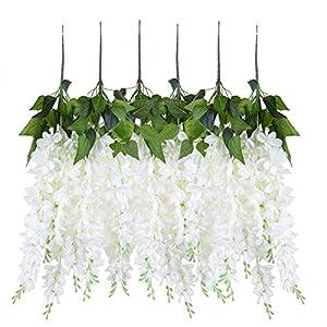 U'Artlines Wisteria Artificial 2.3 Feet/Piece Hanging Wisteria Vine Fake Flower Bush String Home Party Wedding Decoration,Pack of 6,White