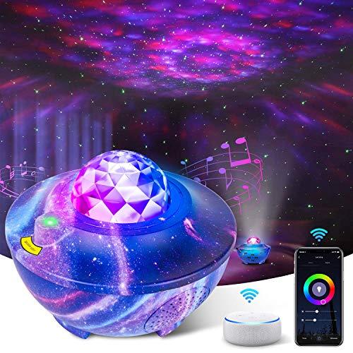 LED Sternenhimmel Projektor, Ozeanwellen Sternenlicht Projektor Unterstützen Sie Alexa, Bluetooth Lautsprecher mit Fernbedienung, Sternenprojektor Nachtlicht für Kinder, Party, Weihnachten