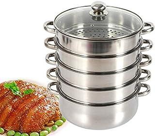 MINUS ONE - Cocina al vapor de 5 pisos, olla Mantowarka de acero inoxidable, tapa de cristal, olla al vapor (opcional 26/28/30 cm)