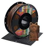 OVERTURE Filamento PLA mate de 1,75 mm con superficie de construcción de impresora 3D 200 mm x 200 mm, bobina de PLA negro mate de 1 kg (2,2 libras), precisión dimensional +/- 0,05 mm(chocolate)