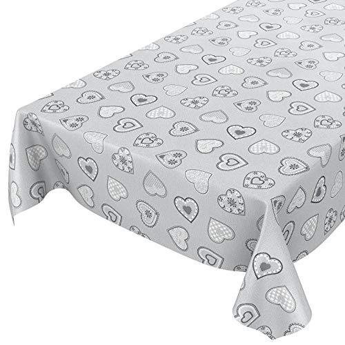 Anro - Mantel de hule lavable, hule, 95% PVC, 5% poliéster., Corazón amor gris plata., 100 x 140cm Schnittkante