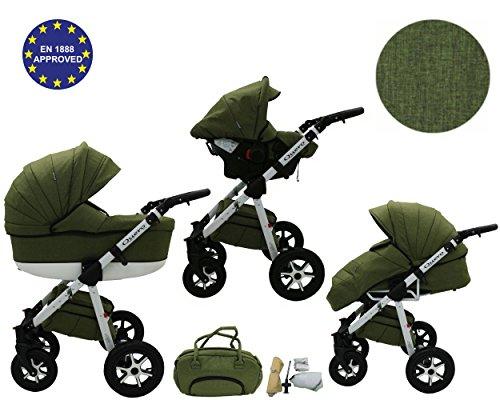 QUERO Lin Matériau - Landau pour bébé + Siège Auto - Poussette - Système 3en1 + Accessoires (Système 3en1, Lin Matériau N ° 13)