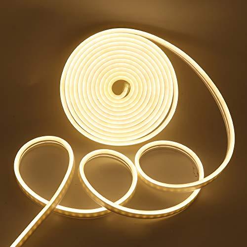 Neon LED Streifen, XUNATA 5M 12V 2835 600Leds Warmweiß LED Strip Wasserdicht Diffusion Flexibel LED Lichtband Schlauch+5A Netzteil (Warmweiß)