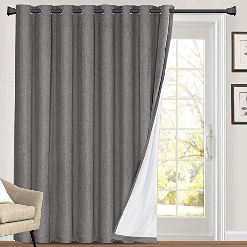 100% Blackout Linen Look Patio Door Curtain 84 Inches Long Extra Wide Thermal Insulated Grommet Curtain Drapes for Living Room / Sliding Glass Door, Primitive Winow Treatment Decoration, Grey