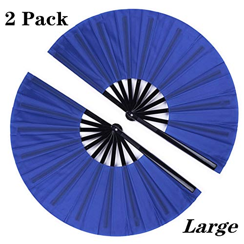 Minelife 2 Pack Large Folding Hand Fan, Nylon-Cloth Vintage Retro Fabric Fans, Chinese Kung Fu Tai Chi Hand Fan for Men/Women, Festival, Dance, Gift, Performance, Decorations (Blue)