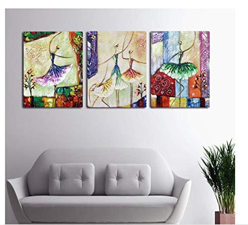 ZKPYY knutselen diamant borduurwerk triptyque ballerina schilderij op canvas, decoratie voor bruiloft 40 * 60x3pcs