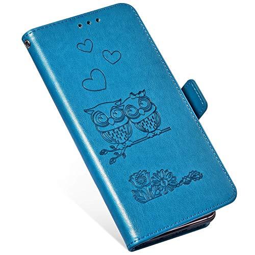 QPOLLY Kompatibel mit OnePlus 6 Hülle Klappbar Ledertasche,Premium PU Leder Handytasche Brieftasche-Stil Magnet Geldbörse Handyhülle für OnePlus 6 mit Kartenhalter Standfunktion,Blau