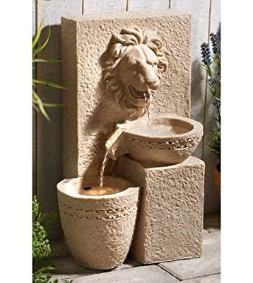 MP Essentials Garden Outdoors Solar Powered Lion Head Stone Water Feature Fountain
