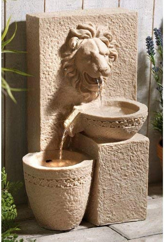 MP Essentials Garden Outdoors Solar Powered Lion Head Stone Water Feature Fountain