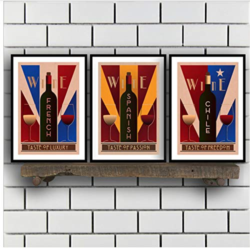 Vintage wijn muurkunst canvas poster afdrukken Franse Chili wijn schilderij muurschildering en bars decoratie 50x70x3 stuks cm geen lijst