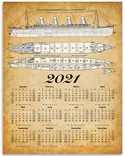 2021 Calendar - Titanic Ship Blueprints - 11x14 Unframed Calendar Art Print - Great Vintage Gift and Decor for History Buffs Under $15
