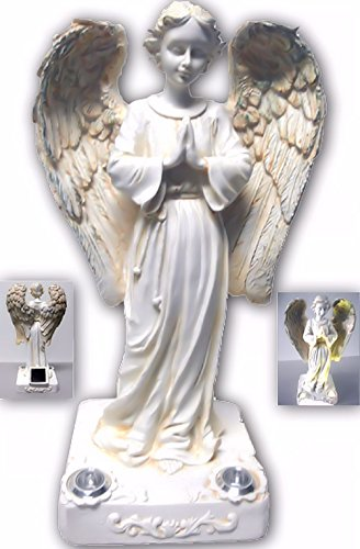 BRILLIANT AND MO Beautiful Praying Solar Angels with 2 Yellow LED Solar Angel Lights