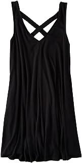 WSLCN レディース ミニワンピース ショート?ミニスカート Vネク ガータースカート カジュアル パーティー シフォン 着痩せ ゆったり ノースリーブ 可愛い ドレス