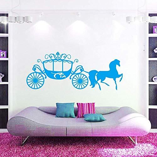 Door de klant gemaakte gepersonaliseerde naam prinses Assepoester paard vervoer muur Art Decal Vinyl muurschildering Decor-U kiest naam en C 100 * 45cm