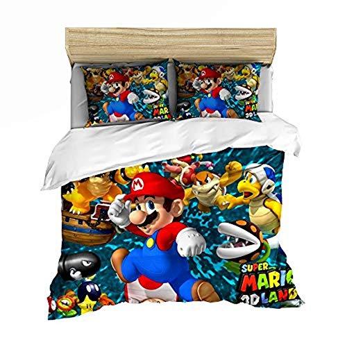 QWAS Super Mario Bros. Funda nórdica de dibujos animados de anime, muy suave y cómoda, para decorar el espacio (A06,200 x 200 cm + 80 x 80 cm x 2)