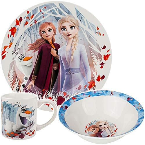 alles-meine.de GmbH 3 TLG. Geschirrset - Porzellan / Keramik - Disney die Eiskönigin - Frozen - Trinktasse + Teller + Müslischale - Kindergeschirr - Frühstücksset für Kinder - Ju..