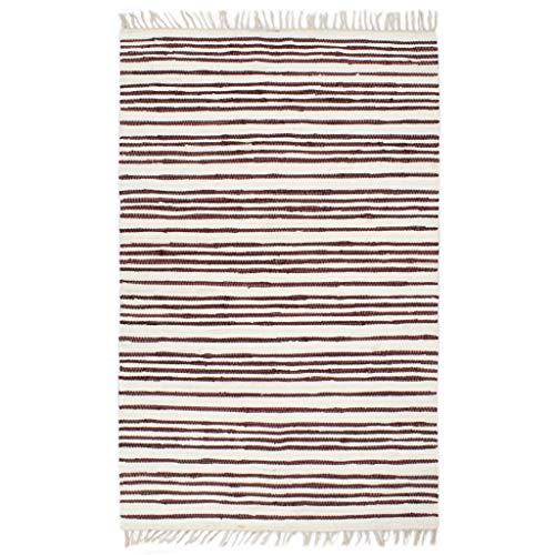 Alfombra tejida a mano Chindi de algodón, 120 x 170 cm, color burdeos y blanco