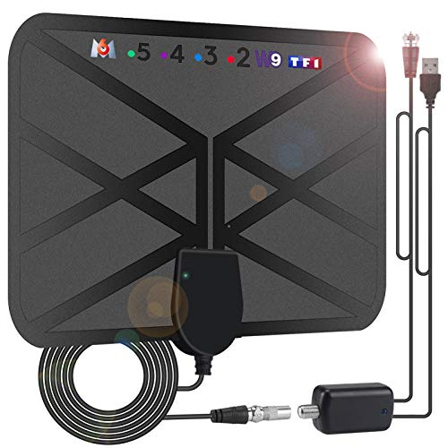 Antena DVB-T2, 36DBI, 200 km, digital, DVB-T, con amplificador de señal, para habitación, HDTV, compatible con 4K/1080P HD...