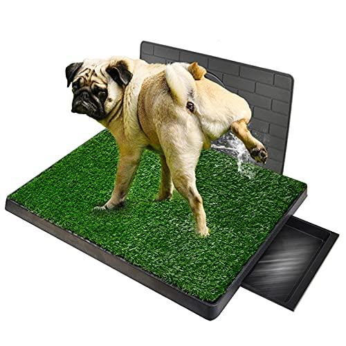GreeSuit Inodoro para Cachorros Aseo para Perros con césped Artificial 76 x 50 cm Aseo para Alfombrilla de Entrenamiento para Inodoro con Pared de simulación de protección de Poste de pipí