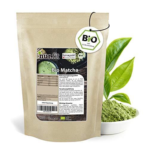 nur.fit by Nurafit BIO Matcha-Pulver 125g – zertifiziertes Grüntee-Pulver für Smoothies, Latte, Shakes oder zum Backen – Matcha rein natürlich ohne Zusätze – Green-Tea Powder