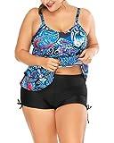 Mujer Bañadores Tallas Grandes Traje De Baño Estampado Floral Tankinis De Dos Piezas Bikini Confort Swimsuits Azul XL