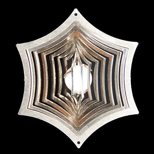 Roestvrij stalen windspel spinnennet Ø-8,5 cm met glazen bol Ø-16 mm (wit) Voor de tuin en als raamdecoratie