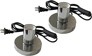 Metal Table Lamp Base [2 PCS], Standard E26 E27 Light Sockets with 5.57ft Plug in Cord On/Off Switch Bedside Lamp Holder for Home Lighting Decor