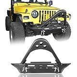 Hooke Road for Jeep Wrangler TJ Stinger Bumper Stubby Front Bumper w/Winch Plate for Jeep TJ 1997-2006 (Solid Steel)