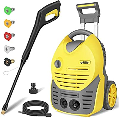 Oasser Electric Pressure Washer Car Power Washer 1600W 140bar 420L/H Portable Car Washer Machine with Spray Gun 5pcs Nozzle 5M High Pressure Hose CW6 by Oasser