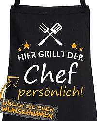 """Comedy Grill Schürze - Hier GRILLT DER Wunschname PERSÖNLICH - Motiv 6"""" - Schwarz/Weiss-Orange"""
