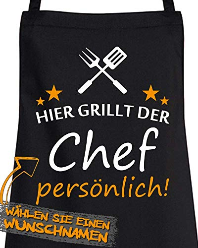 """Comedy Grill Schürze - Hier GRILLT DER Wunschname PERSÖNLICH - Motiv 6\"""" - Schwarz/Weiss-Orange"""