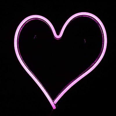 Hztyyier Herzförmige Leuchtreklame Dekor Wandschild für kühles Licht, Wandkunst, Schlafzimmer Dekorationen, Wohnaccessoires, Party und Urlaub Dekor