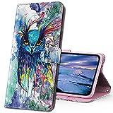 MRSTER Moto G8 Power Lite Handytasche, Leder Schutzhülle Brieftasche Hülle 3D Muster Cover mit Kartenfach Magnet Tasche Handyhüllen für Motorola Moto G8 Power Lite. YX 3D Colorful Owl