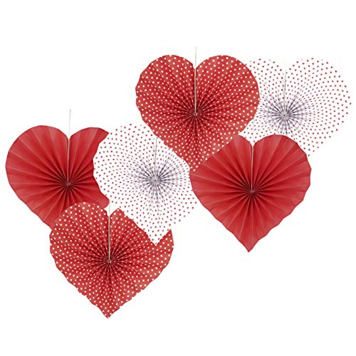 Red Heart Valentines Party Hanging Decorations Paper Fans Wedding Anniversary Bachelorette Bridal Shower Baby Shower Birthday Party Photo Backdrops Decorations, 6pc