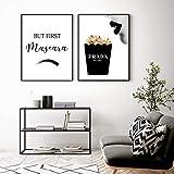 Rudxa Moda rimel Chica Imagen Cartel Negro Blanco Pared Arte Lienzo Pintura Sala de Estar decoración-50x70cmx2 sin Marco
