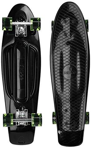 Ridge Skateboards Recycled Cruiser Skateboard, Nero/Chiaro/Verde, 27'