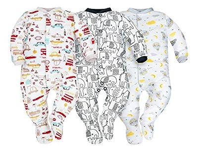 Sibinulo Niño Niña Pijama Bebé Pelele de ABS Pack de 3 Elefantes Negros, Autos y Lunas 80(9-12 Meses)